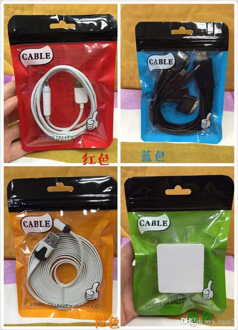 10.5 * 15 Zipper embalagem saco cabo USB Plástico OPP PVC Poly Saco, Comércio Embalagens caixas de pacotes para cabos USB Phone acessórios