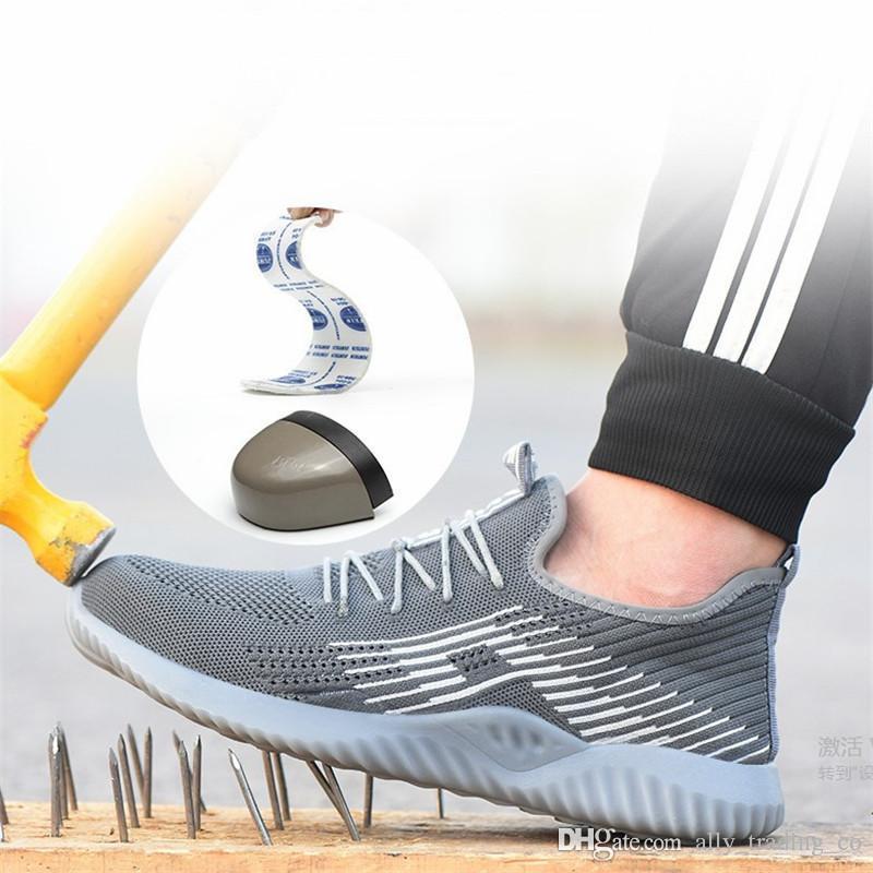 2019 Herren Atmungsaktive Stahlkappe Sicherheitsschuhe Herren Outdoor Anti-Rutsch Stahl Pannensichere Konstruktion Sicherheitsstiefel Arbeitsschuhe
