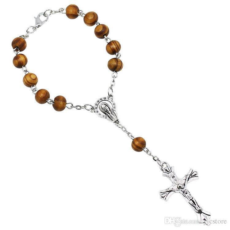 8 MM Grano de madera católico rosario pulsera mujeres cristianismo religioso Virgen María Jesús Cruz crucifijo pulsera envío de la gota