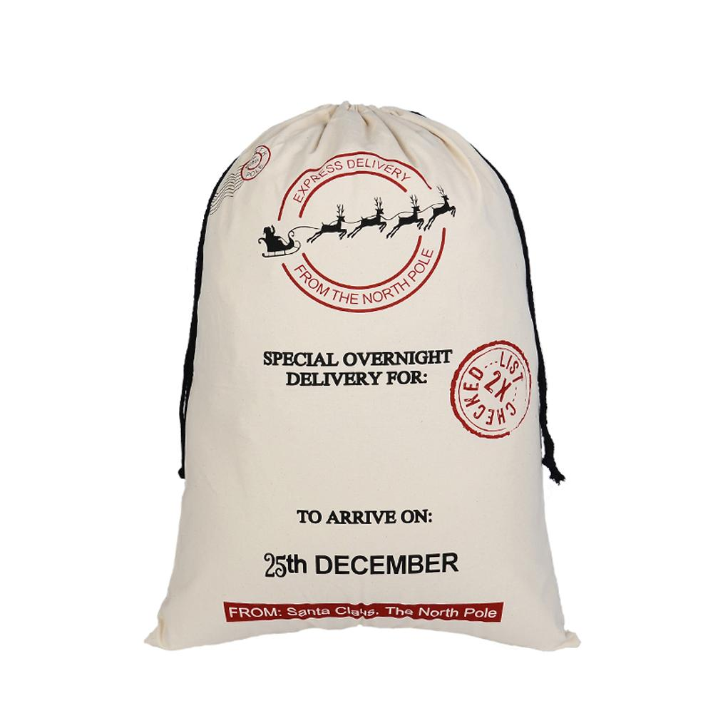 Free Delivery Santa Sacks Drawstring Canvas Gifts for Kids Christmas Gift Bags Christmas Presents LN1009