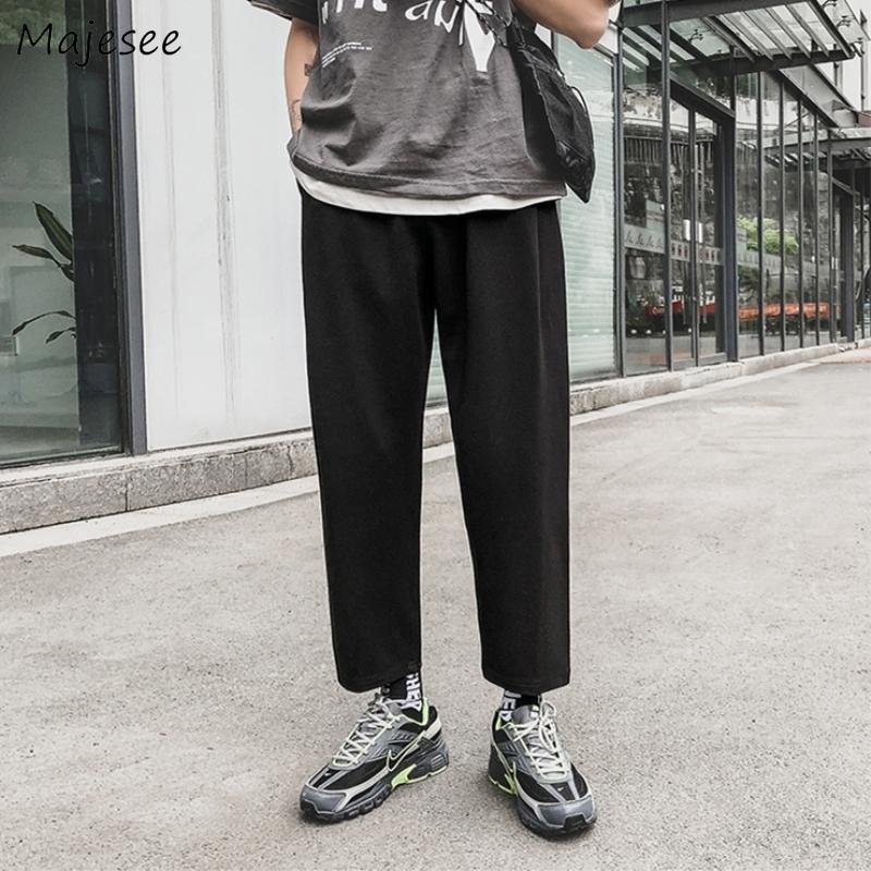 Pants Men Plus Size High Waist Sweatpants Black Casual Slim All Match Mens Korean Style Trendy Streetwear Pocket Drawstring Soft CY200518