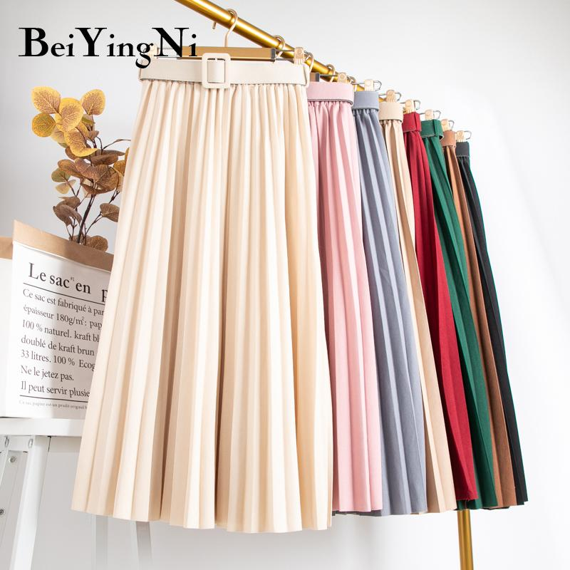 Beiyingni 20Colors été solide Jupe vintage femme plissée ceinturée Harajuku Casual Slim longues Promotions Jupe Lady preppy Saia