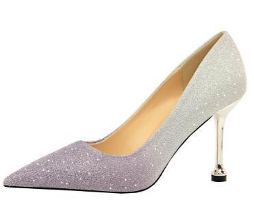 2019 8.5cm Sivri Burun Pop Bayan İnce Bling Pullarda Düğün Ayakkabı Renk Eşleştirme Sıcak Topuklar Satılık pompaları