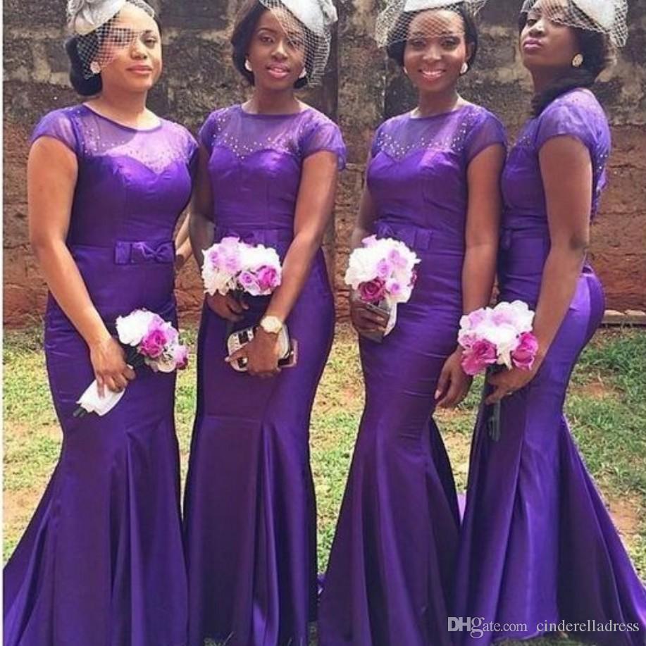 2020 Afrika Mor Gelinlik Modelleri Şık Denizkızı Boncuklu Kısa Kollu Elbise İçin Düğün vestido dama de onur