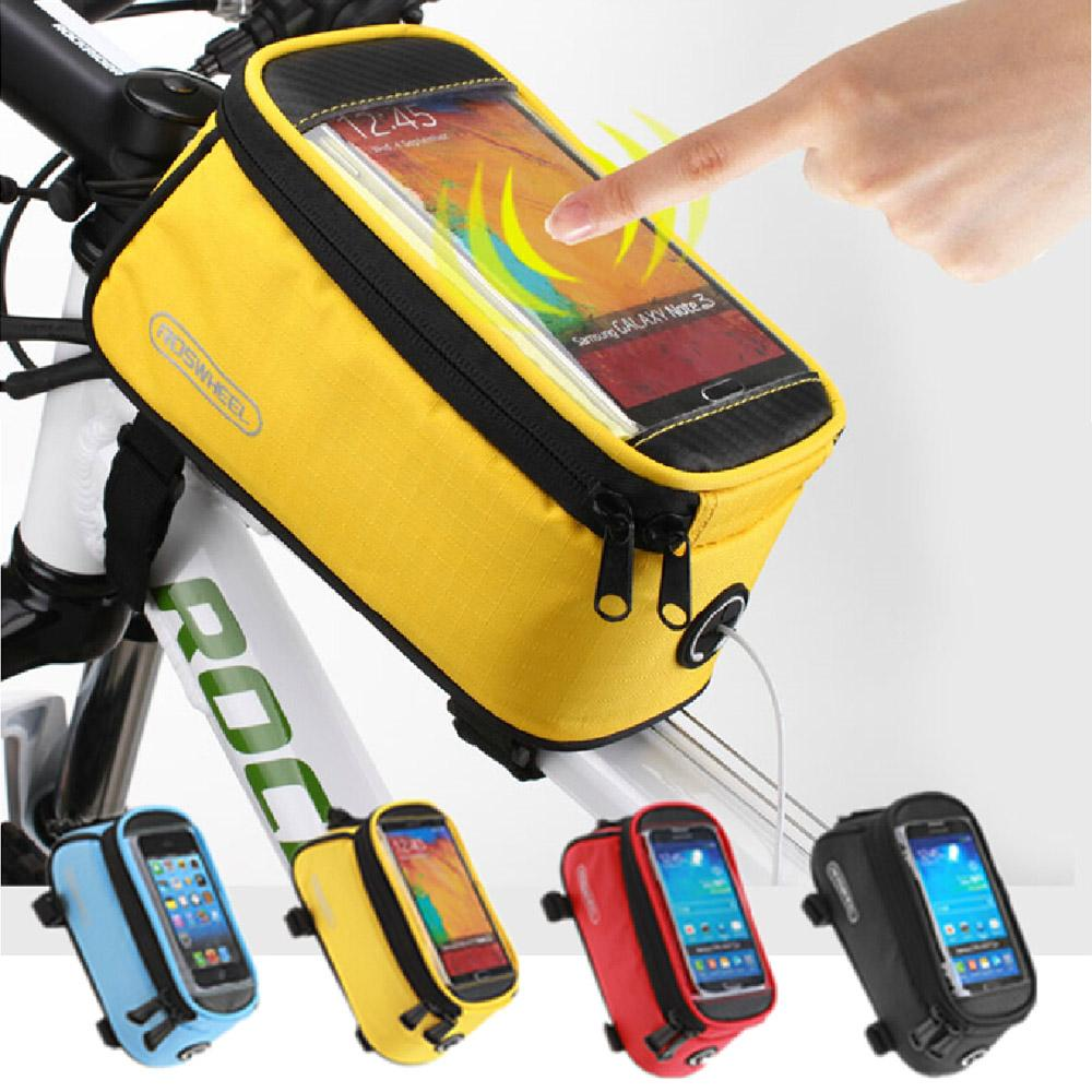 Road Bicycle Bike Bags For iphone /redmi/ Touch Screen Cycling Top Front Tube Frame Saddle Bags For 4.2/4.8/5.5 Cell Phone Cases