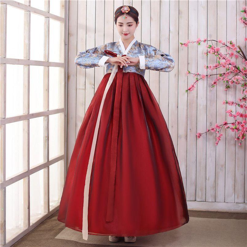 Traditional Asian Nationality Korea costume Women Korean Hanbok Dress folk stage Dance Performance Clothing