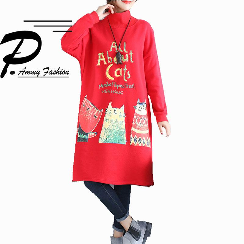 Plus Size Fleece Lining Turtleneck Warm Mid Long Jumper Dress Winter  Thicken Cat Pattern Christmas Long Tunic Lagenlook Voguee Designer Evening  Gowns ...