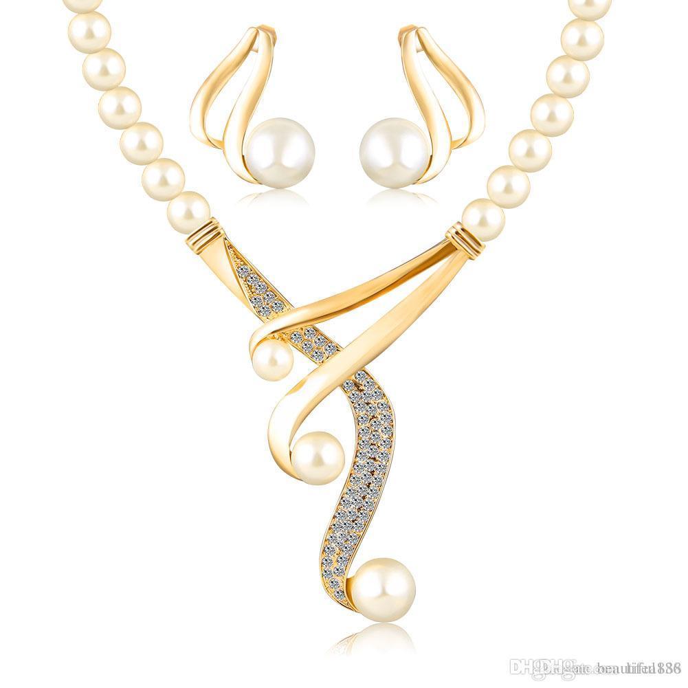 Heißer verkauf schmuck sets frauen mode kristall braut hochzeit afrikanische perlen gold farbe Europäischen Nachahmung perlenkette ohrring geschenk
