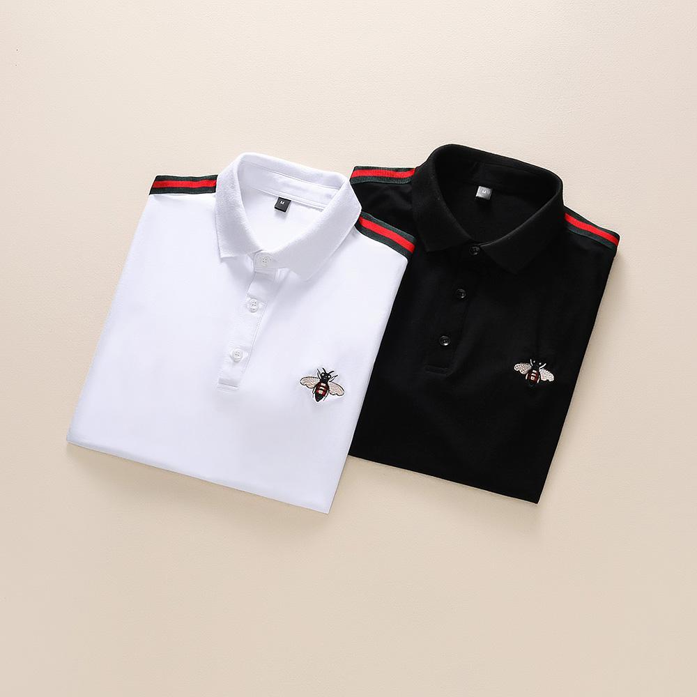 İtalya Marka Tasarımcıları Polo Gömlek Lüks T Shirt Yılan Arı Çiçek Nakış Erkek Polos Yüksek Sokak Moda Şerit Baskı Polo Tişört