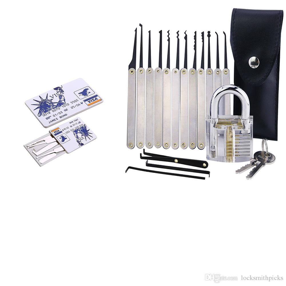투명 전문 장면 전환 7 핀 자물쇠 + 스테인레스 스틸 12PCS / 잠금 설정 + 5PCS 신용 카드 잠금 설정 LocksmithTools 선택 선택 설정