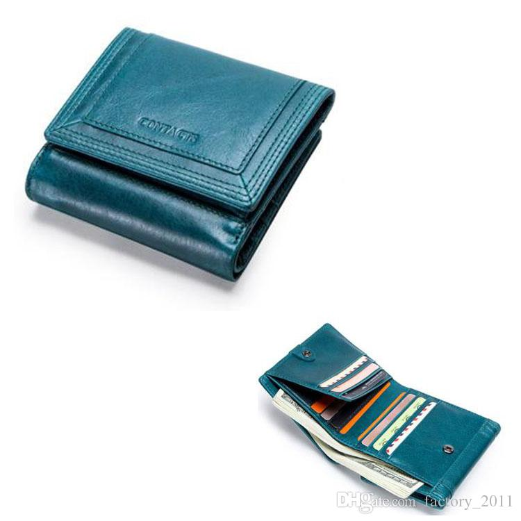 Foldable Real Leather Top Quality Short Purse Fashion Woman Wallet New Arrival Design Money Clip Coin Pocket with 2 Bank Note Slots C2163