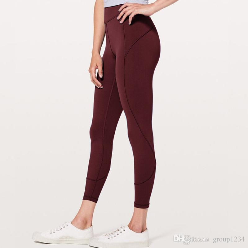 Top Quality Women yoga pants LU High Waist Sports Gym Wear Leggings Elastic Fitness Lady Overall Full Tights Workout