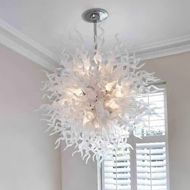 Lampadario a lampadario in vetro soffiato bianco a flusso di lampadario all'ingrosso LED cerchio a cerchio luce semplice lampadari a soffitto di Murano