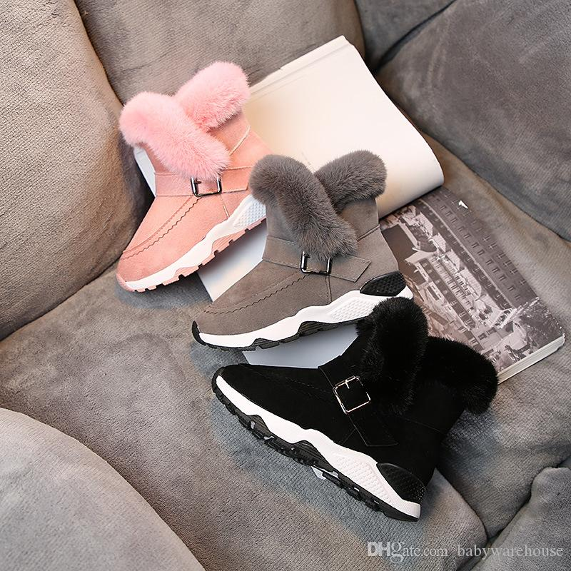 Kids Baby Shoes 2019 Winter Children Warm Cotton Boots Teenager Velvet Thicken Warm Snow Boots Kids Boys Girls Snow Boots Christmas Gifts