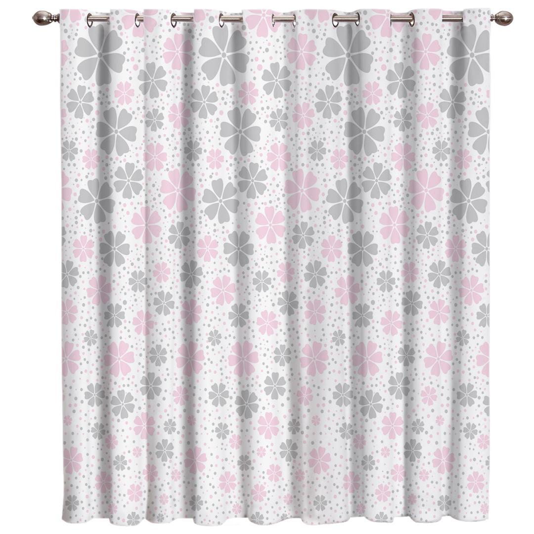 Pink And Grey Flower Nordic Window Curtains Dark Blackout Bathroom Bedroom Outdoor Fabric Swag Kids Window Treatment Ideas