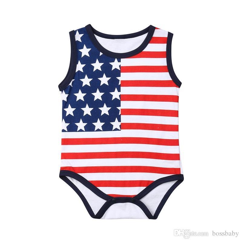 Baby Boy Звезды Rompers Girl O-образным вырезом в полоску без рукавов Rompers Американский Флаг Независимости Национальный День США 4-го июля Дети Печати Костюм