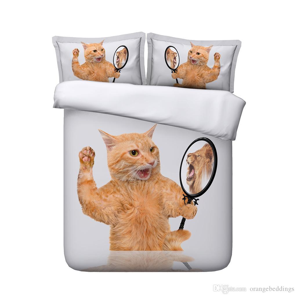 Juego de ropa de cama reactiva impresa para gatos de 3 piezas Cómoda Transpirable Suave Extremadamente durable Arruga Desvanecimiento Resistente a las manchas Animales de perro