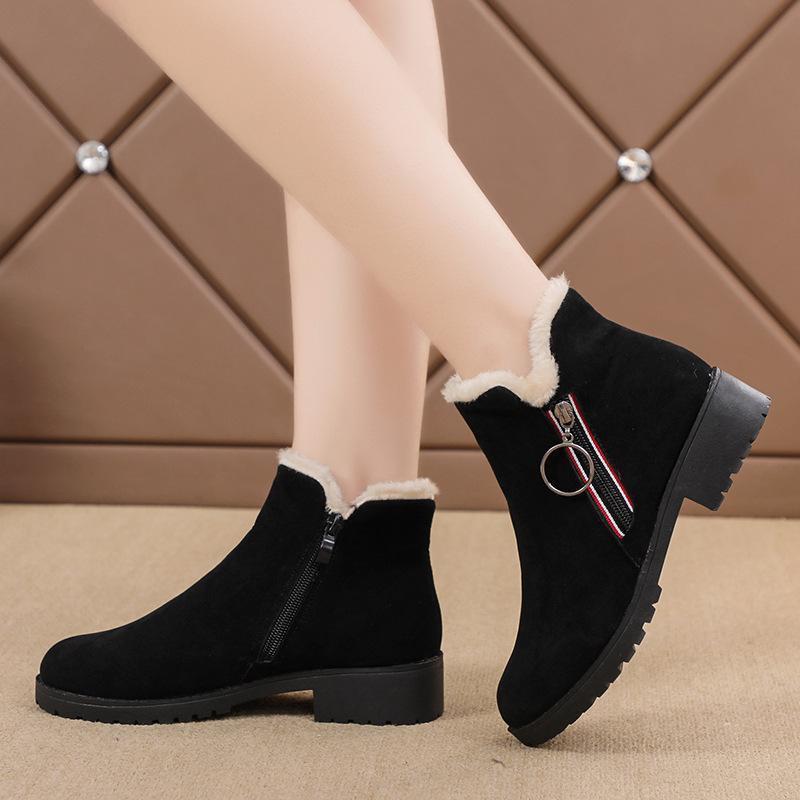 botas de moda feminina de neve 2019 inverno novo além de veludo quente botas curtas Inglaterra vento lateral cabeça redonda com zíper sapatos de algodão casuais maré 02