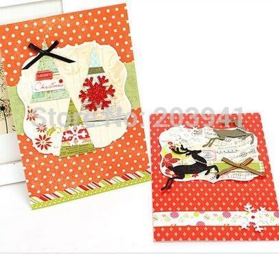 1pack de haute qualité Manuel Carte de Noël vintage de voeux 3D bricolage multifonction avec enveloppes Les cartes-cadeaux Happy New Year