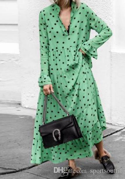 고급 여성 의류 웨이브 포인트 깊은 V 넥 큰 스윙 드레스 코튼 소재 플러스 사이즈 긴 치마