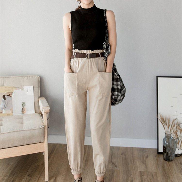 Women 2019 Summer Fashion High Waist Harem Pants Streetwear Solid Loose Casual Trousers Cargo Pants Sweatpants