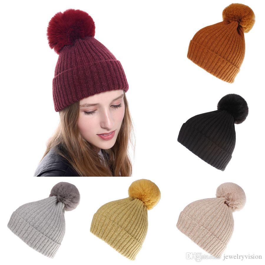 جديد الخريف النساء الشتاء قبعة صوف الكرة بيني كاب سيدة محبوك قبعة كاب الدافئة الكروشيه القبعات M220