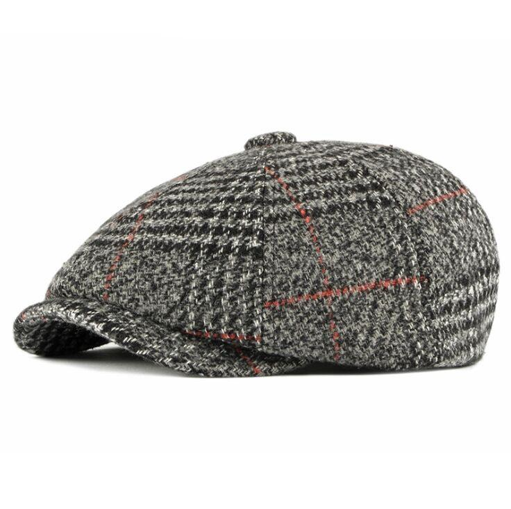 CEQING032 otoño adulto algodón ajustable del sombrero de la vendimia octogonal hombres británicos curvas boinas tapas de calabaza Gatsby