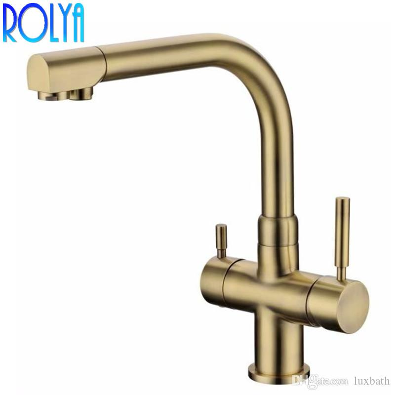 Rolya Antique Bronze Tri Flow Kitchen Faucet Solid Brass Ro Water Filtered Tap