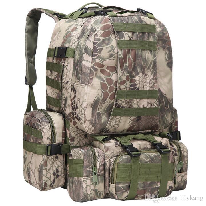 50L de alta capacidade ao ar livre mochilas esportes camuflagem homens mulheres campismo saco de viagem caminhadas baakpack tático saco de computador multifuncional