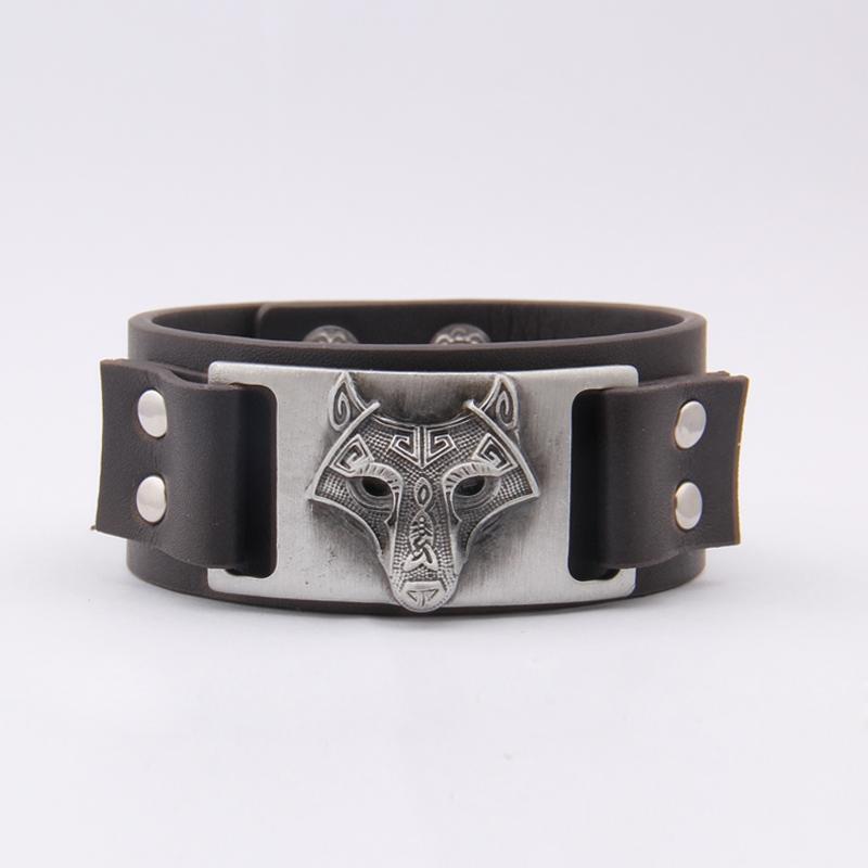 2020 Nova Dropshipping Viking Vegvisir Lobo Pingentes Bangle Nordic Runes homens jóias pulseiras de couro