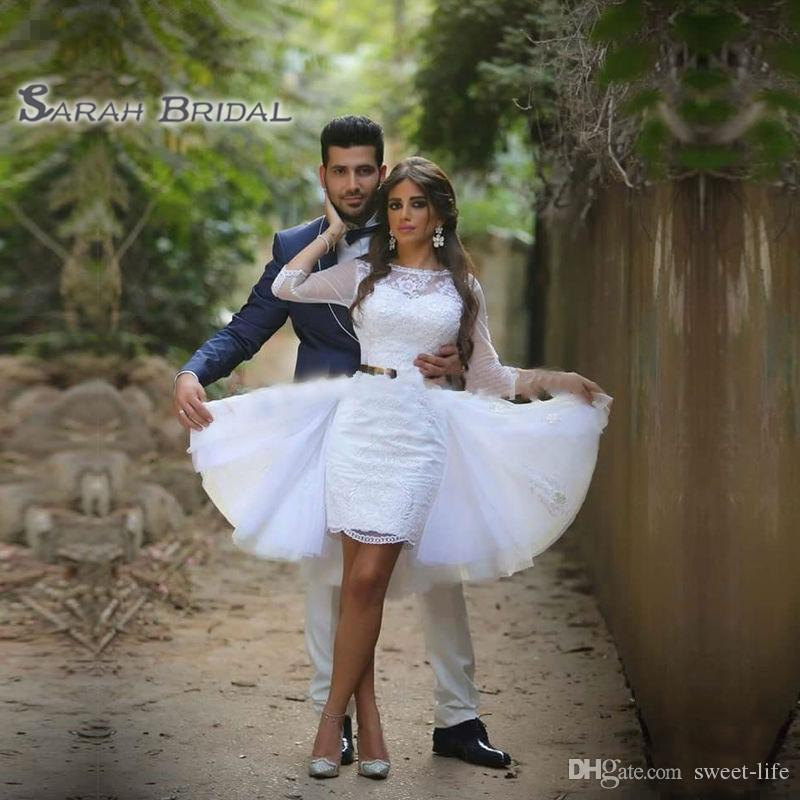 Dit Mhamad Little White Robes de mariée en dentelle Vintage 2020 pure décolleté 3/4 manches longues robes de mariée avec Train détachable Arabe