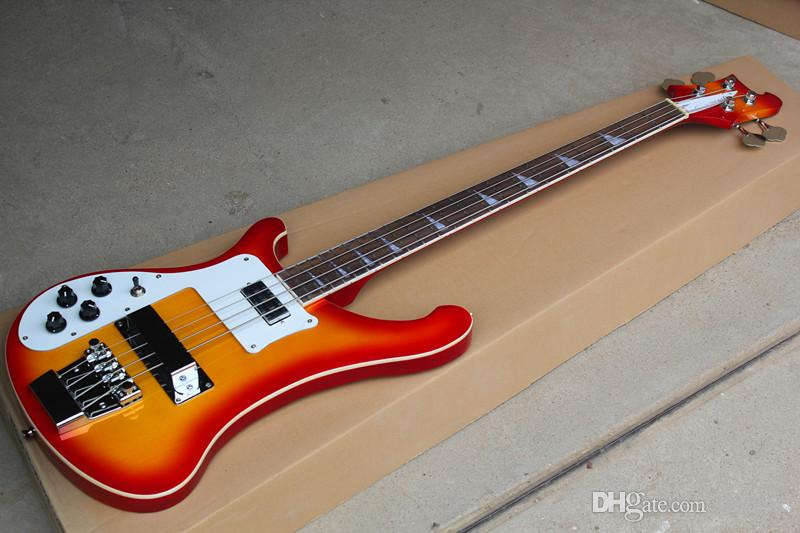 Cherry Sunburst 4-string Electric Bass Guitar with Left-hand,White Pickguard,Chrome Hardwares,can be customized as to request