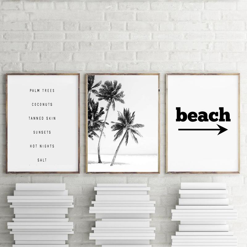 أبيض وأسود شاطئ المشهد قماش اللوحة أشجار النخيل ملصقات ومطبوعات غرفة ستريت صور الرئيسية المعيشة الجدار الديكور