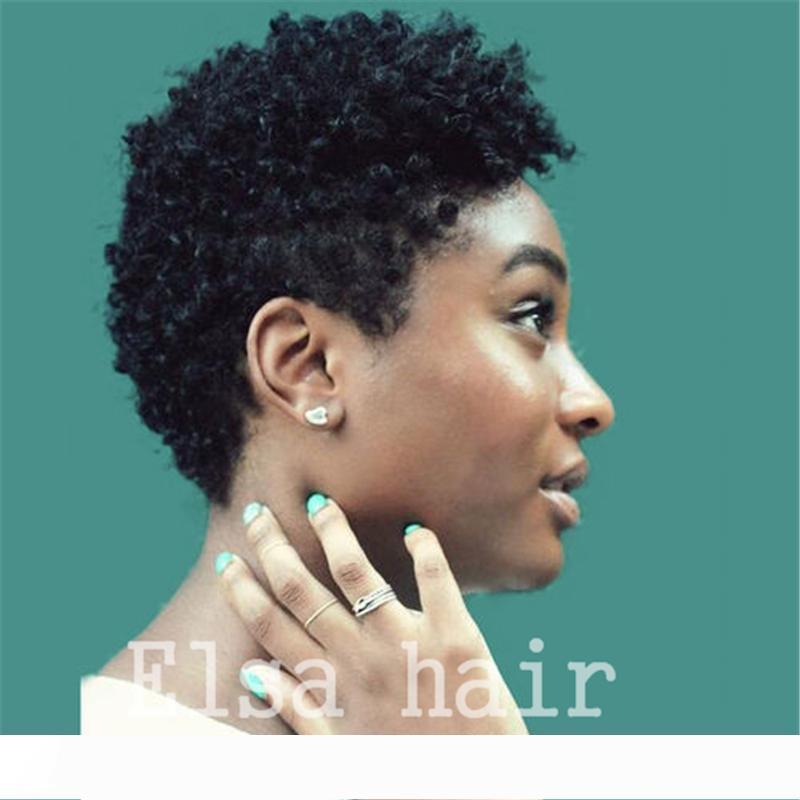 Afro corto sin cola rizada peluca de cabello humano pelucas de cabello humano peluca afro rizado rizado pelucas delanteras del cordón del pelo brasileño para las mujeres negras