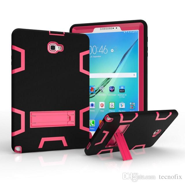 100pcs For Samsung Galaxy Tab A 10.1 P580 P585 Shockproof Tablet Case Anti Dust Soft Silicon PC Hybrid Coque Stand Cover Cases