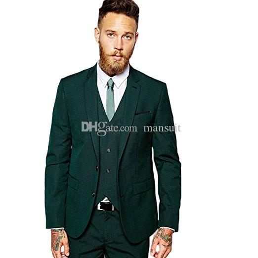 Populaire garçons d'honneur notch revers marié smokings hommes vert foncé costumes costumes de bal / meilleur homme blazer (veste + pantalon + gilet + cravate) M943