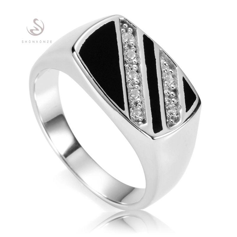 Shunxunze Magnificent Vintage Man Finger 925 Sterling Silver Ringar För Män Black Resin Smycken Tillbehör Flash Sale S-3777 Storlek 7 - 13