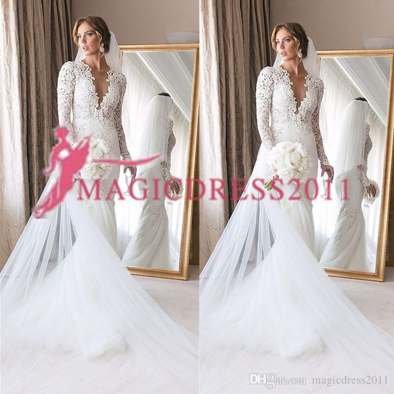 2019 Modest Mermaid Wedding Dresses plus size Zipper Back Robe De Mariage Sexy V neck backless wedding Bridal Gown Vestido De Noiva