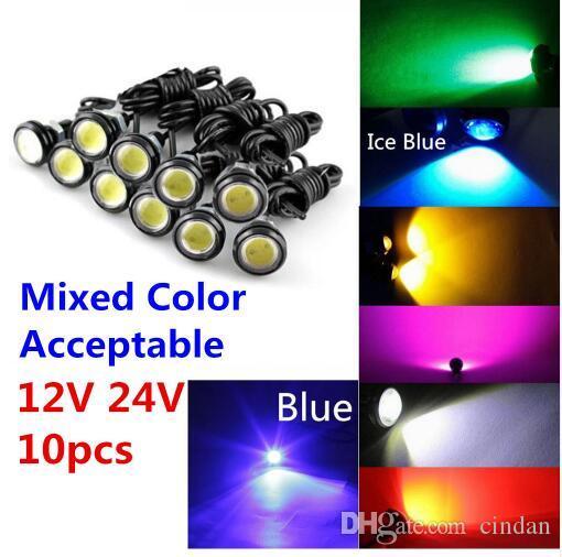 10pcs 9W 12V 18MM 23MM LED 이글 아이 라이트 자동차 안개 DRL 주간 리버스 주차 신호 노란색 앰버 블루 화이트 레드