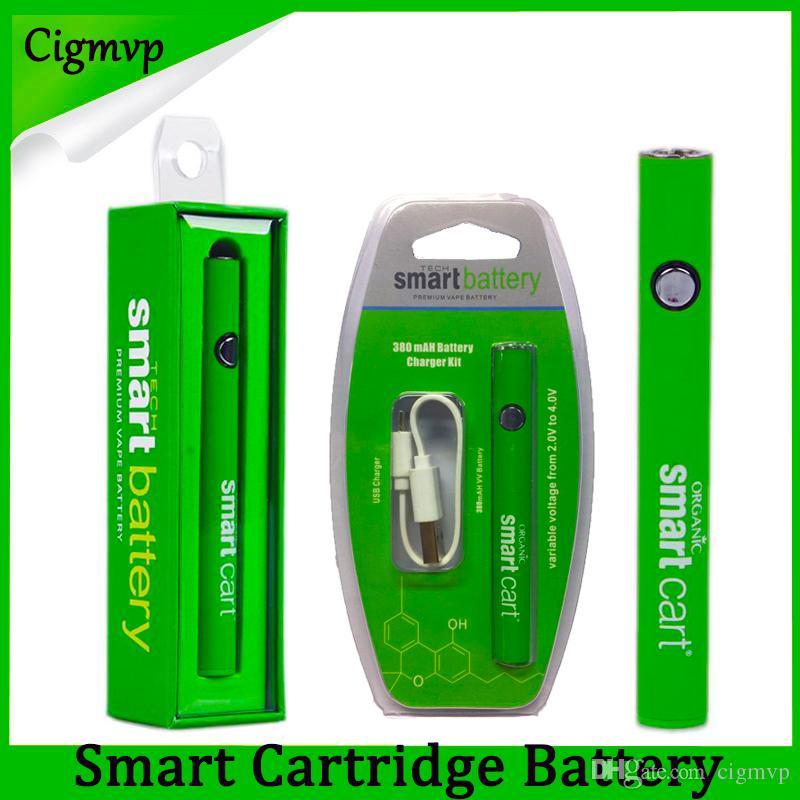 최신 스마트 카트 배터리 Vape 510 스레드 카트리지 380mAh 가변 전압 예열 SmartCart 배터리 USB 충전기 Evod Law
