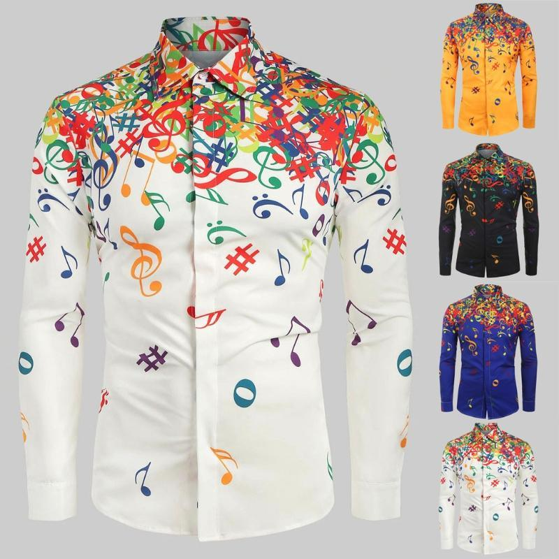 2020 Man Shirt Blouse Men Casual Musical Note Pattern Casual Long Sleeves Artistic Shirt Top