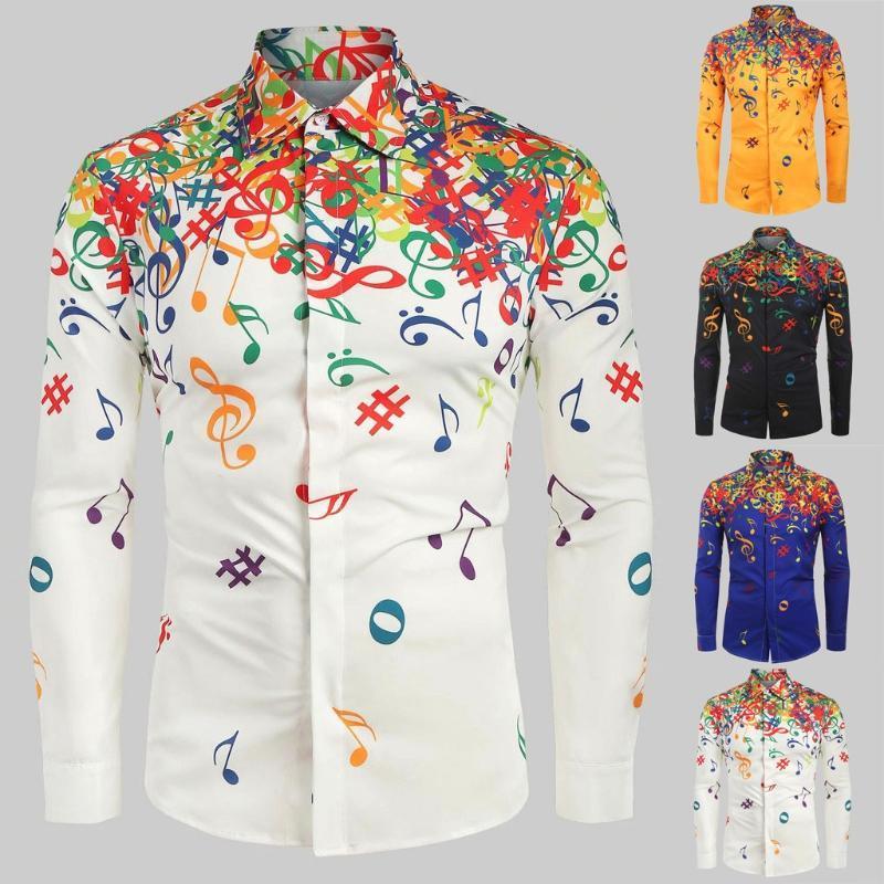 2020 Man Shirt Blouse Men Casual Musical Note Pattern Casual Long Sleeves Artistic Shirt Top
