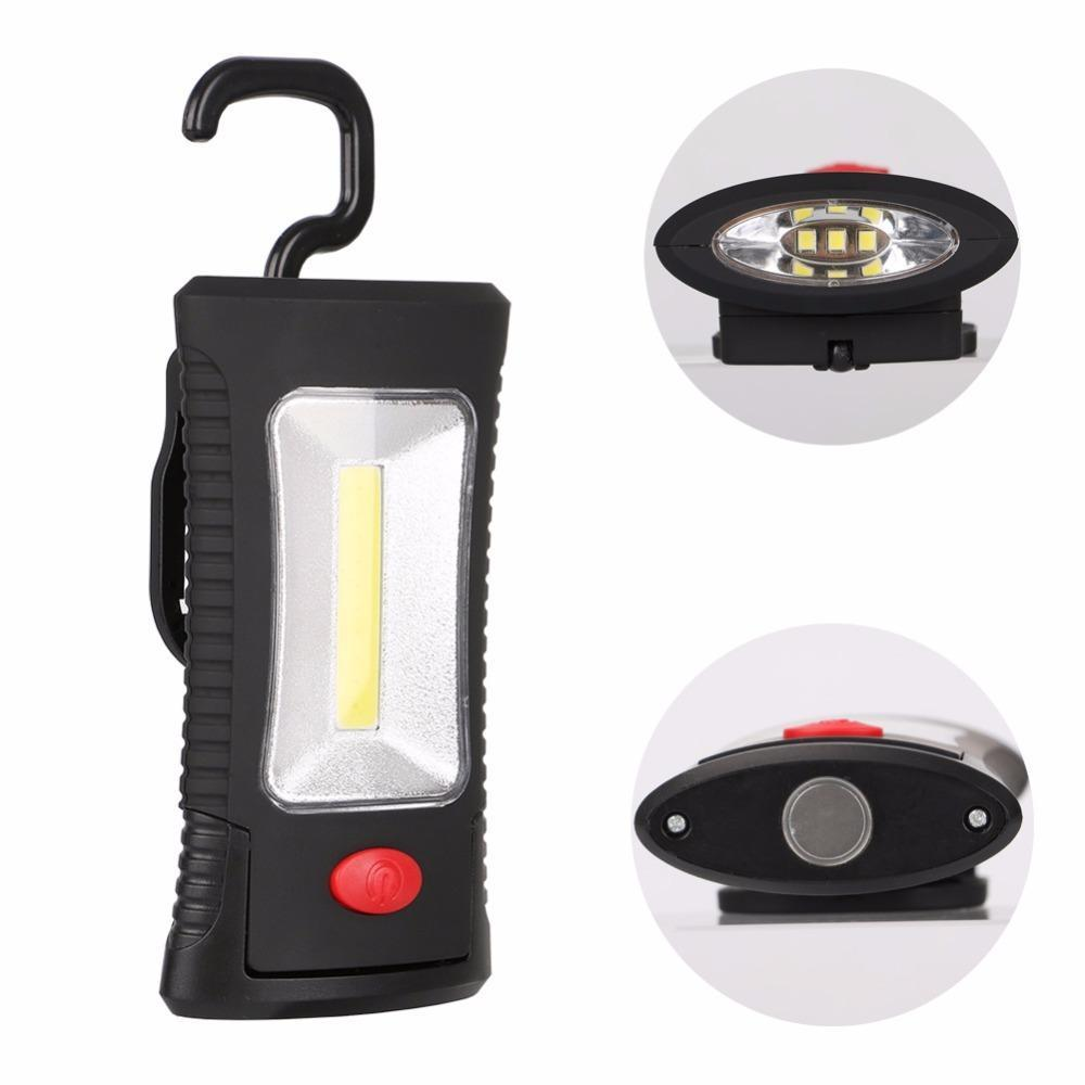 2 -Modes Cob LED magnetische Arbeitslicht Klapphaken Fackel Linternas Lanterna Taschenlampe Handy-Beleuchtung Verwendung 3x Aaa