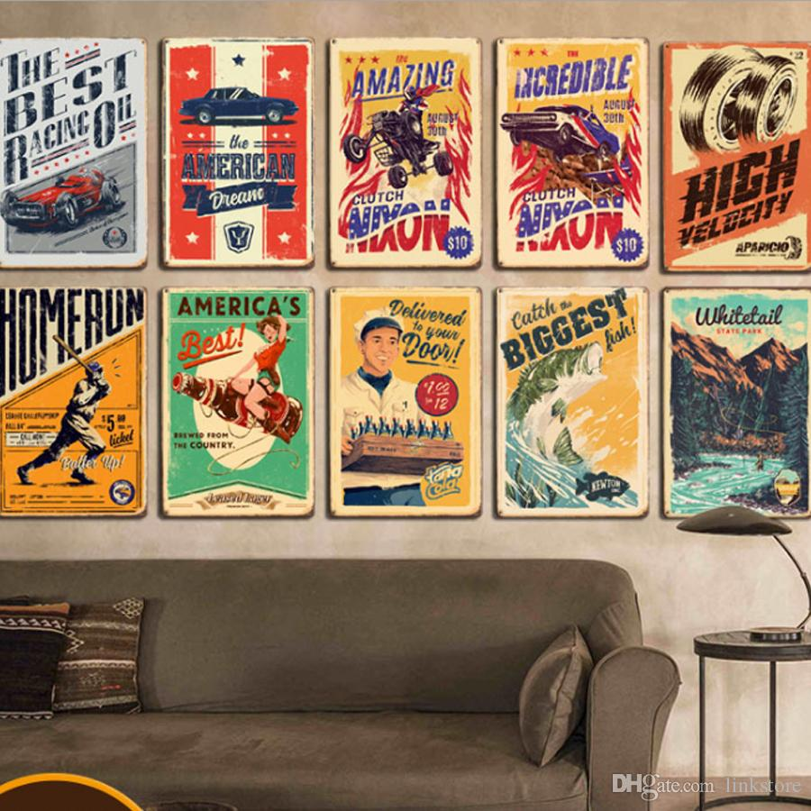 Vintage Métal En Métal Signe Mur Potable Cola Sport En Métal Signes Plaque En Étain Pub Bar Garage Vintage Home Decoration Rétro En Métal Affiche