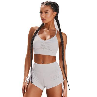 Damenmode 2-teiliges Set Sommer-Kurzschluss-Sets Crop Top + Short Set Tracksuits Yogakleidung Workout Sport Weste Shortswear Trendy Casul Anzug