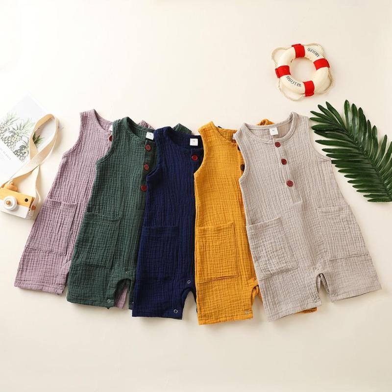 Установки одежды ползунки ребёнок мальчик девушка сплошное белье без рукавов с карманным рожденным младенческим коммутатором наряд летняя мода одежда