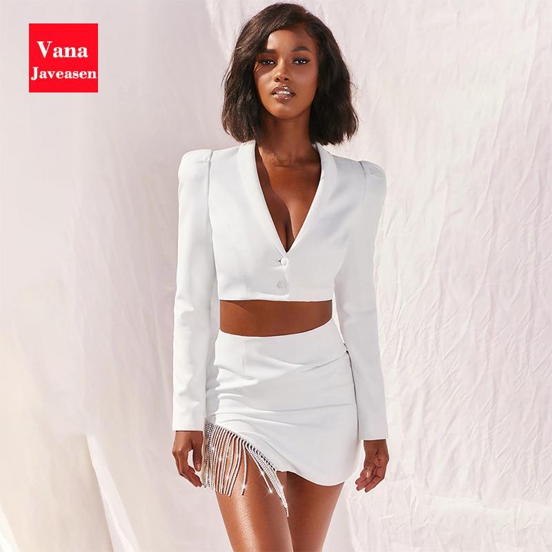 2шт Женская одежда набор специально пальто короткие топы Сексуальная V-образным вырезом кнопка с длинным рукавом топы Высокая Талия кисточкой Кристалл юбки набор