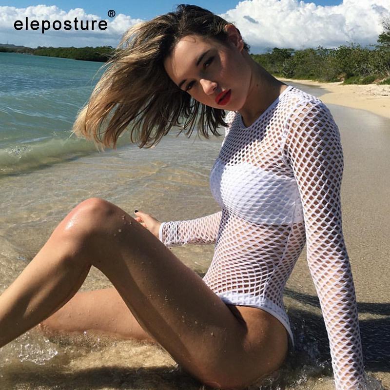 2020 nuevo desgaste atractivo del bikini cubierta de malla Hasta ahueca hacia fuera la manga larga de la playa cubre para arriba el traje de baño de las mujeres Playa Blanca Negro verano