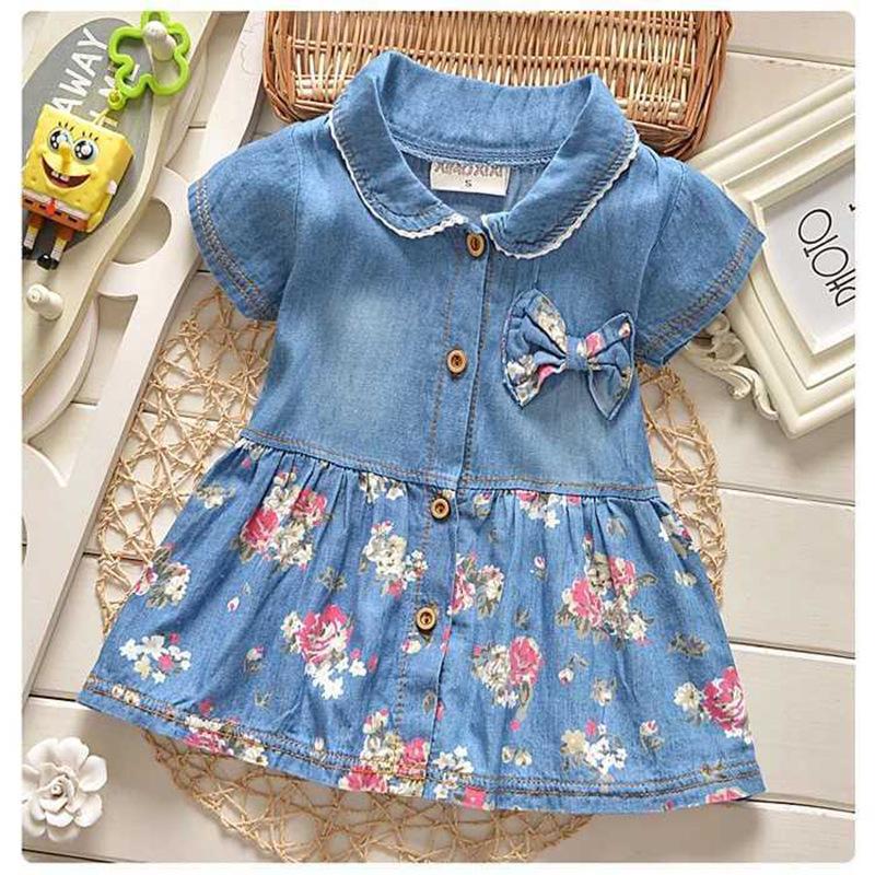 2020 Frühling-Sommer-Herbst-New Kinderkleidung Mädchen-Kinder-Denim-Kurz-Hülse Blumenkleid Säuglinge und Kleinkinder Denim-Rock-Whol