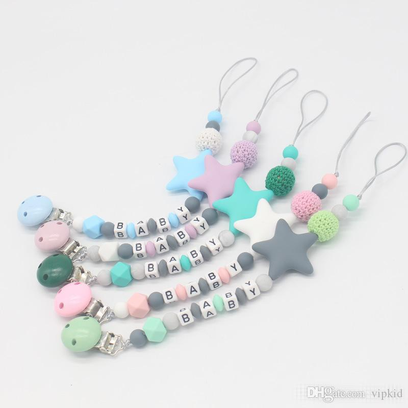 5 style INS Personalised Name Silicone Baby Pacifier Clips Chain Nipple Pacifier Chain with Mouse Holder for Baby, Baby Shower Gift B1
